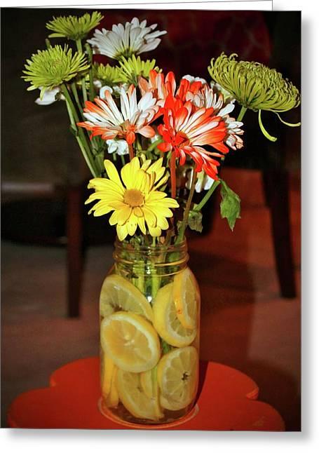 Lemon Water For Flowers Greeting Card by Cynthia Guinn