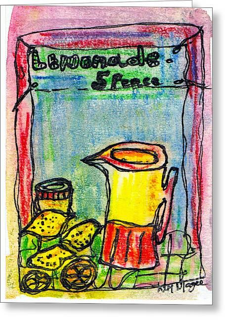 Lemon Art Drawings Greeting Cards - Lemonade 5 Pence Greeting Card by Kim Magee ART