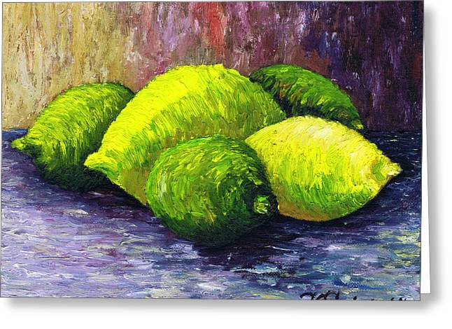 Passion Fruit Paintings Greeting Cards - Lemons and Limes Greeting Card by Kamil Swiatek