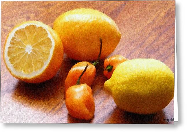 Lemons Greeting Cards - Lemons and Peppers Greeting Card by Jeff Kolker