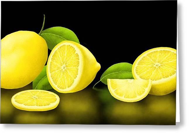 Lemon Art Greeting Card featuring the painting Lemons-black by Veronica Minozzi