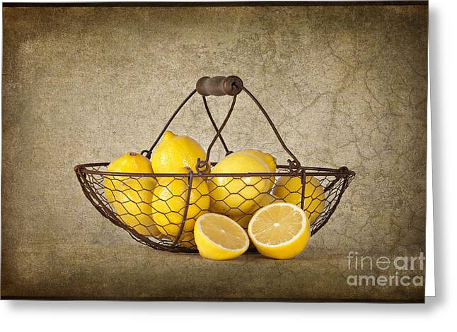 Lemon Art Greeting Cards - Lemons Greeting Card by Heather Swan