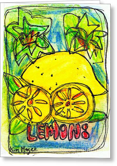 Sour Drawings Greeting Cards - Lemons Greeting Card by Kim Magee ART