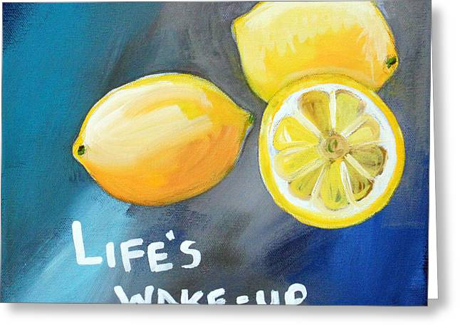Blue-gray Greeting Cards - Lemons Greeting Card by Linda Woods