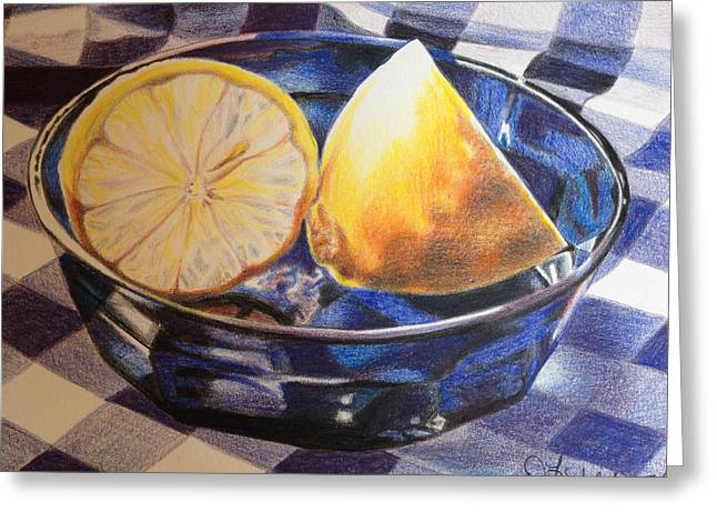 Table Cloth Drawings Greeting Cards - Lemons on Blue Greeting Card by Debbie Fischer