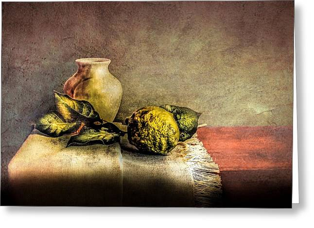 Cloth Greeting Cards - Lemons on cloth Greeting Card by Hugo Bussen