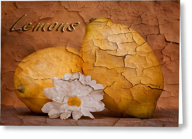 Citrus Fruits Greeting Cards - Lemons with Daisy Greeting Card by Tom Mc Nemar