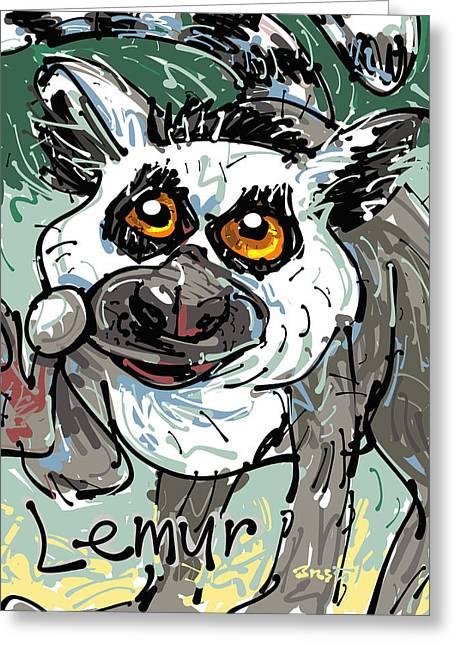 Madagascar Drawings Greeting Cards - Lemur Greeting Card by Brett LaGue