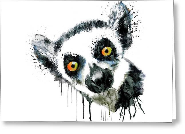 Lemur Head  Greeting Card by Marian Voicu