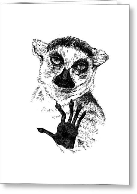 Lemur Greeting Card by Masha Batkova