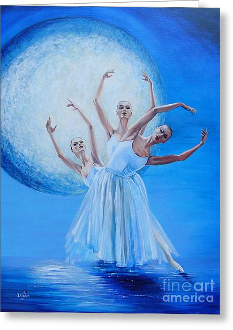 Sea Moon Full Moon Greeting Cards - Lumaria Greeting Card by Diane Rose Medlin
