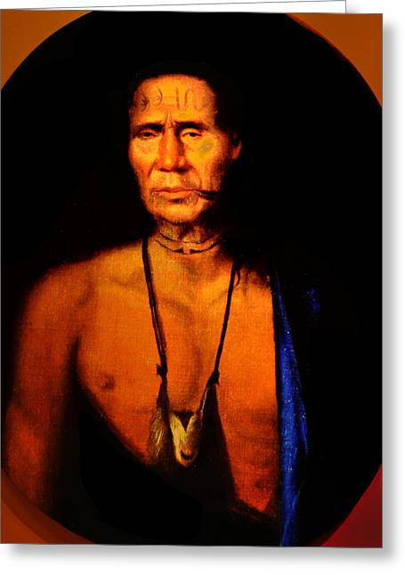 Penn Digital Art Greeting Cards - Lenape Chief Greeting Card by Bill Cannon