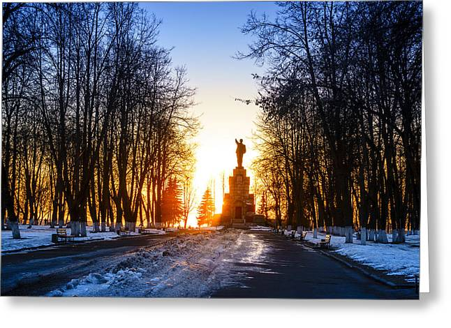 Lenin In The Park Greeting Card by Alexey Stiop
