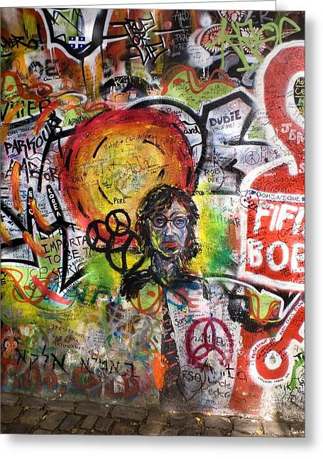 Anti Photographs Greeting Cards - Lennon Wall, Prague Greeting Card by Mark Williamson
