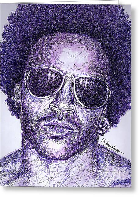 Player Drawings Greeting Cards - Lenny Kravitz Greeting Card by Maria Arango