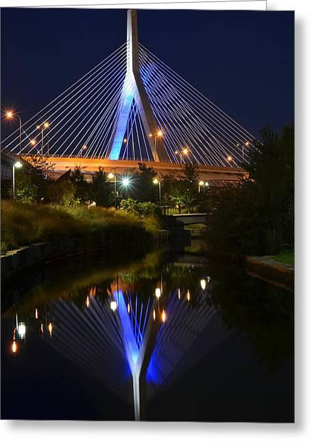 Boston Ma Greeting Cards - Lenny Zakim Bridge Reflection Boston MA Greeting Card by Toby McGuire
