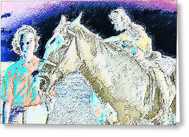 Expressionist Equine Greeting Cards - Lenore-Dawn and Revernd Greeting Card by Lenore Senior