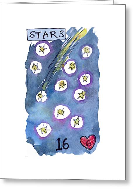 Fame Greeting Cards - Lenormand Number 16 Stars Greeting Card by Joanna Whitney
