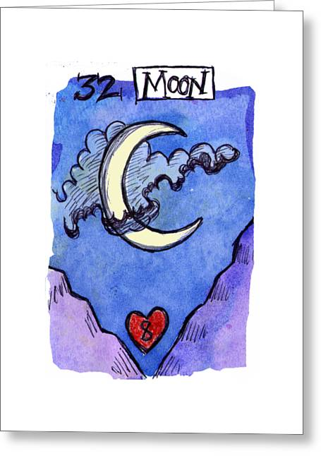 Fame Greeting Cards - Lenormand Number 32 Moon Greeting Card by Joanna Whitney