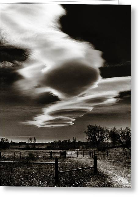 Gravel Road Greeting Cards - Lenticular Clouds of Colorado Greeting Card by Marilyn Hunt