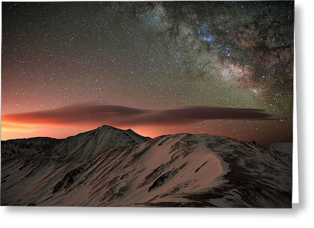 Timberline Greeting Cards - Lenticular Mountain Milky Way Greeting Card by Mike Berenson