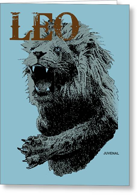 Growling Greeting Cards - Leo Greeting Card by Joseph Juvenal