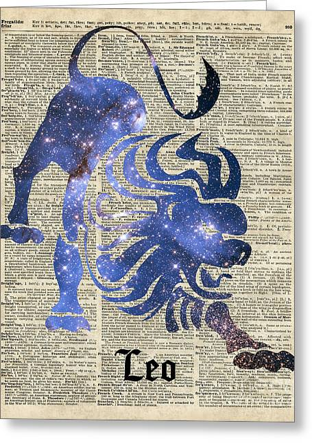 Home Decor Posters Mixed Media Greeting Cards - Leo Lion Zodiac  Greeting Card by Jacob Kuch