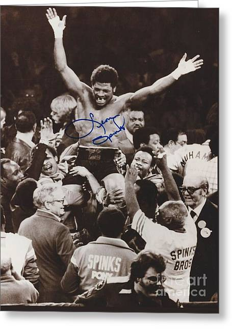 Champ. Boxer Greeting Cards - Leon Spinks Greeting Card by Dennis ONeil