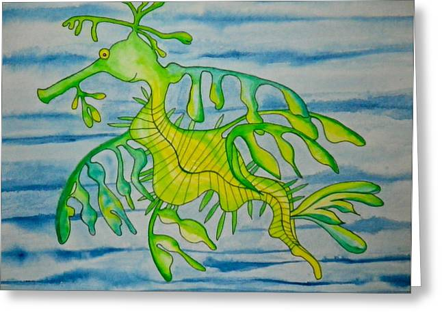 Leafy Sea Dragon Paintings Greeting Cards - Leon the Leafy Dragonfish Greeting Card by Erika Swartzkopf