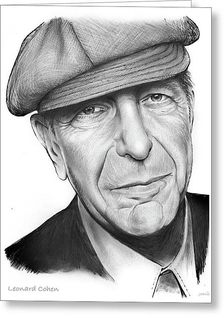 Leonard Cohen Greeting Card by Greg Joens