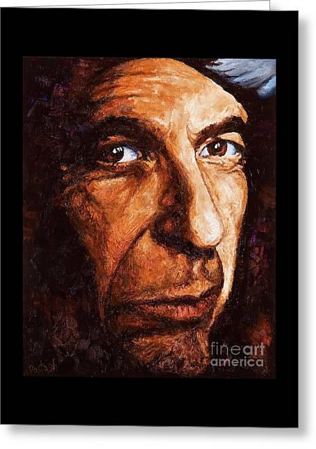 Leonard Cohen Greeting Card by Igor Postash