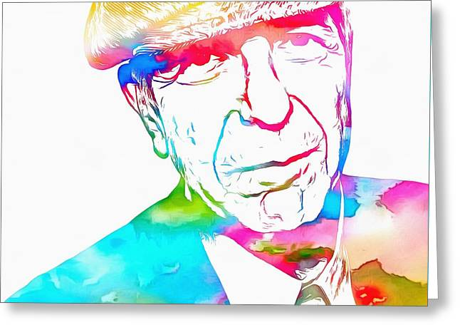 Leonard Cohen Watercolor Paint Greeting Card by Dan Sproul