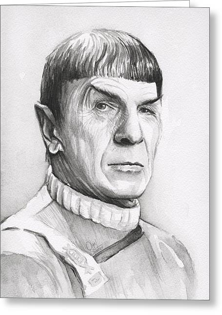 Long-lived Greeting Cards - Leonard Nimoy as Spock Greeting Card by Olga Shvartsur