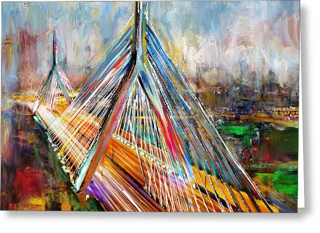 Leonard P. Zakim Bunker Hill Memorial Bridge 219 1 Greeting Card by Mawra Tahreem