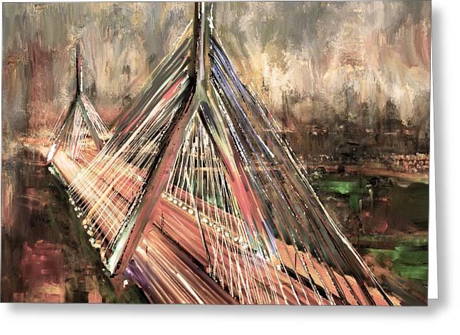 Leonard P. Zakim Bunker Hill Memorial Bridge 219 3 Greeting Card by Mawra Tahreem