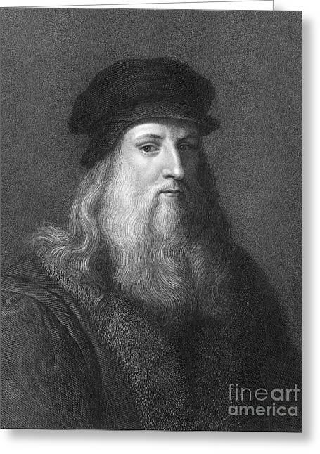 Recently Sold -  - Engraving Greeting Cards - Leonardo Da Vinci (1452-1519) Greeting Card by Granger