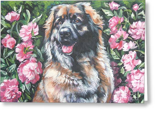 Leonberger In The Peonies Greeting Card by Lee Ann Shepard