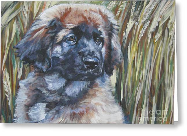 Leonberger Greeting Cards - Leonberger Pup Greeting Card by Lee Ann Shepard
