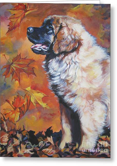 Leonberger Greeting Cards - Leonberger puppy in Autumn Greeting Card by Lee Ann Shepard