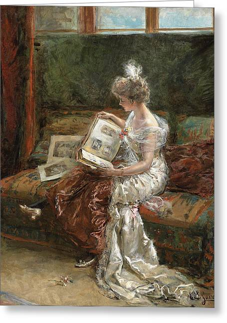 Library Greeting Cards - Leonie Garrido Looking at an Album of Prints Greeting Card by Eduardo Leon Garrido