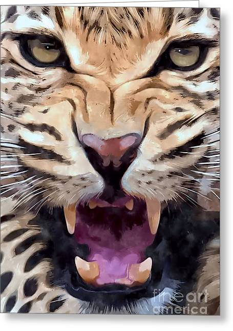 Growling Greeting Cards - Leopard   Greeting Card by Brian Raggatt
