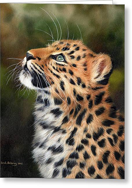 Kitten Prints Greeting Cards - Leopard Cub Greeting Card by Sarah Stribbling