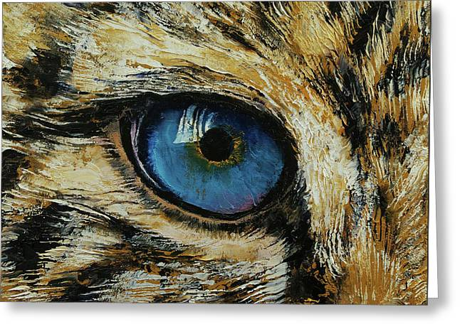 Leopard Eye Greeting Card by Michael Creese