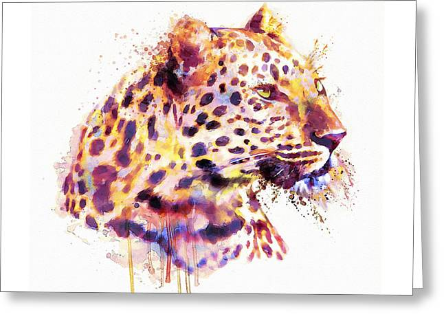 Leopard Head Greeting Card by Marian Voicu