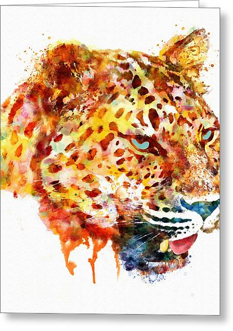 Dripping Paint Greeting Cards - Leopard Head Watercolor Painting Greeting Card by Marian Voicu