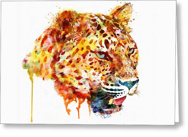 Wildlife Digital Art Greeting Cards - Leopard Head Watercolor Painting Greeting Card by Marian Voicu