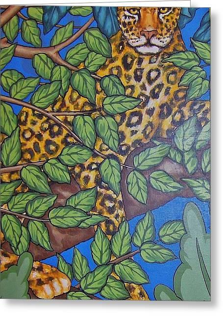 Golden Leopard Greeting Cards - Leopard in Tree - Art Deco Greeting Card by Gunter  Hortz