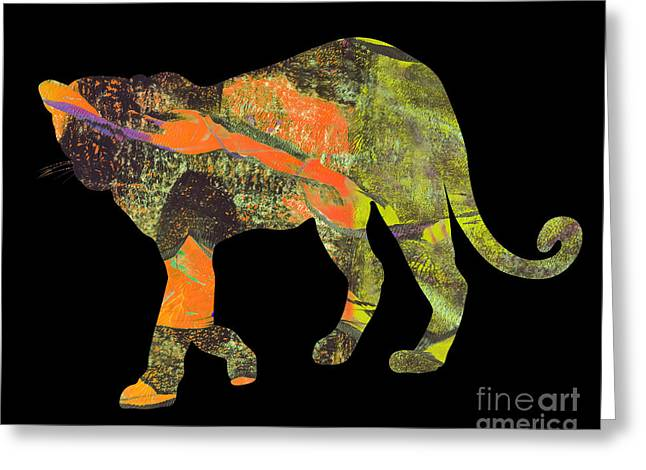 Printmaking Greeting Cards - Leopard Greeting Card by Laura L Leatherwood