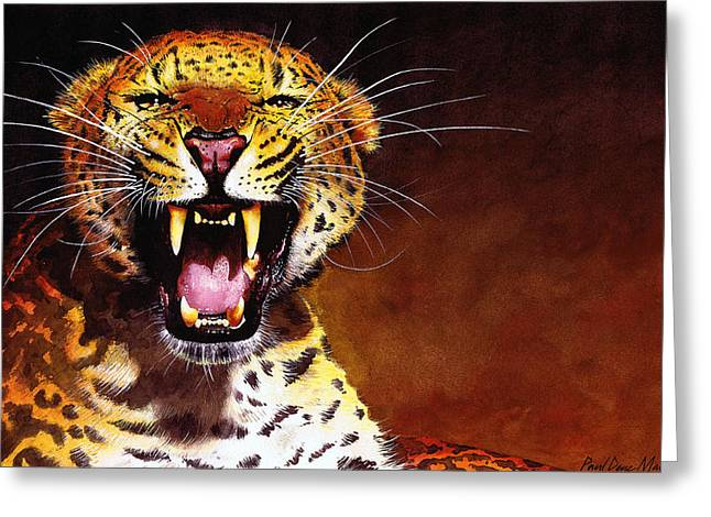 Watercolour Paintings Greeting Cards - Leopard Greeting Card by Paul Dene Marlor
