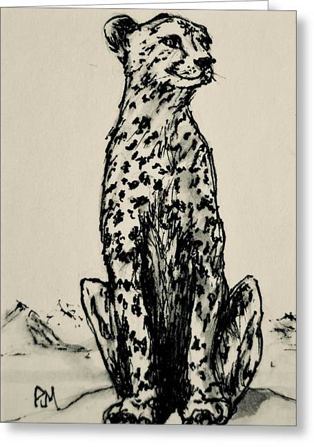 Leopard Drawings Greeting Cards - Leopard Greeting Card by Pete Maier